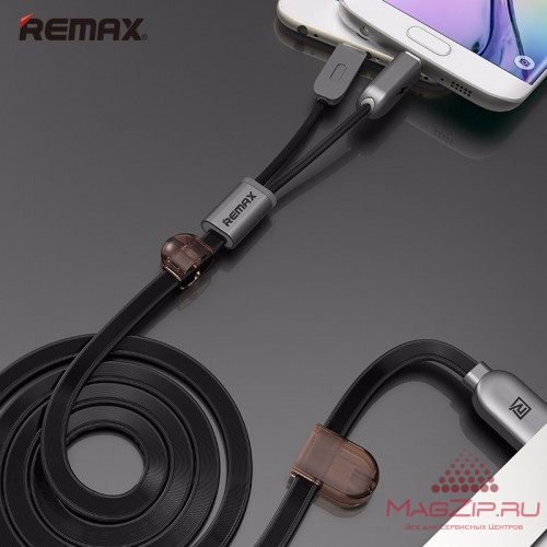 Кабель microUSB REMAX TWINS 2in1 Cable RC-025t черный
